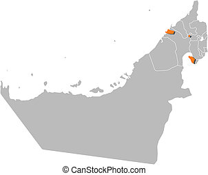 Map of the United Arab Emirates, Ajman highlighted