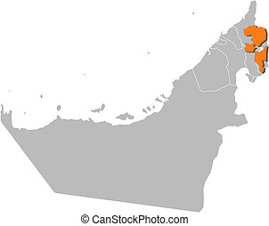 Map of the United Arab Emirates, Fujairah highlighted