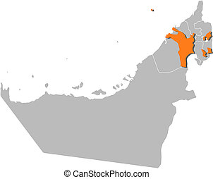 Map of the United Arab Emirates, Sharjah highlighted