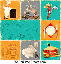 Retro Food Collage - illustration of food collage in retro...