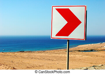 Right direction road sign