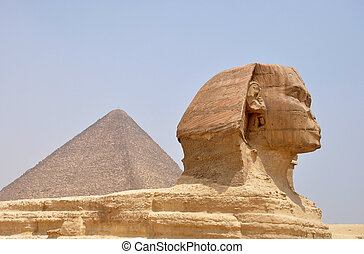 Sphinx and Pyramid Giza - Landmark of the famous ancient...