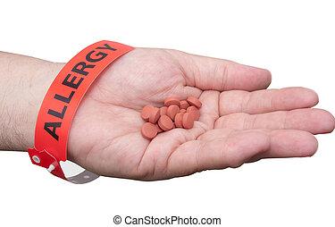 mão, com, alergia, pulso, faixa, e, medicina