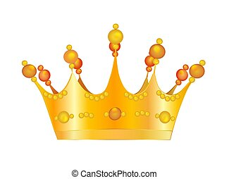 Golden Crown - Illustration of a golden crown, on a white...
