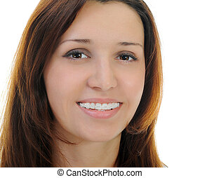 Beautiful Teen Girl With Braces - Portrait of beautiful teen...