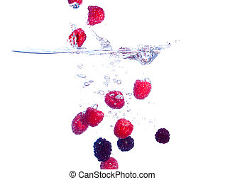Berries Falls under Water with a Splash