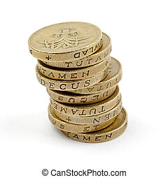 Pile of 1 coins GB Pound - Pile of 1 coins