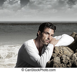 Handsome male model - Fashion portrait of a handsome man in...