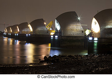Thames Barrier at Night - The Thames Barrier at night in...
