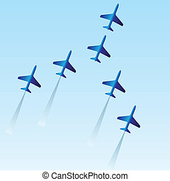 Squadron - The squadron of six planes Vector illustration