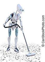 Robot Vacuuming - Robot vacuuming up small bits of metal...