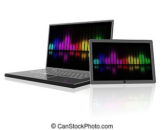 laptop and tablet - 3d new technology illustration