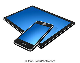 tablet and smartphone - 3d new technology illustration