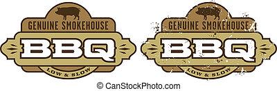 Barbecue Symbol/Icon - Genuine Smokehouse Barbecue design...