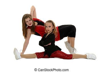 Hip Hop Duo Posing In Red - Hip Hop and Break Dancers in...