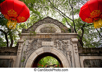 Stone Gate Garden Red Lanterns Prince Gong's Mansion, Beijing China. Built during Emperor Qianlong Reign.