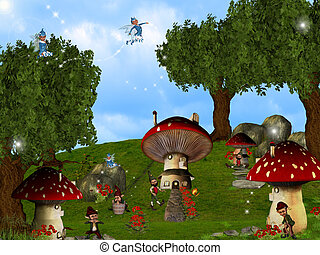 Gnomes Wonderland - Dwarfs land, Mushroom houses,...