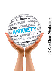 Anxiety - Hands holding a Anxiety Word Sphere sign on white...