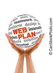 Web Plan - Hands holding a Web Plan Word Sphere sign on...