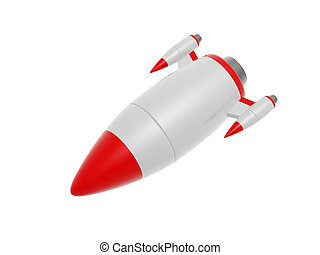 rocket missile - red warhead rocket missile isolated on...