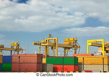 container ship leaving the container port terminal - large...