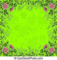 Flowers on green background