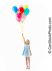 Happiness - Little girl with balloons on a white background