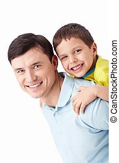Father and Son - Young father with his son on a white...