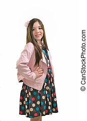 Pink jacket and polka dot dress - Girl in her pink jacket...