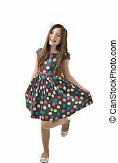 Pretty Polka Dot Dress - Young girl in her bright polka dot...