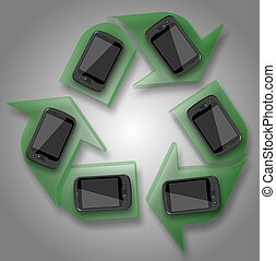 recycle mobile phones - a group of mobile phones forming a...