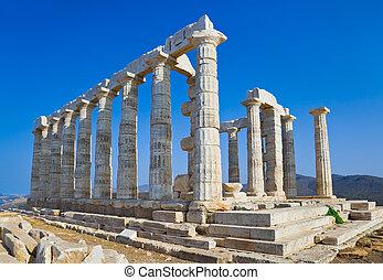 Poseidon, Atenas,  Sounion, Grécia, capa, Templo