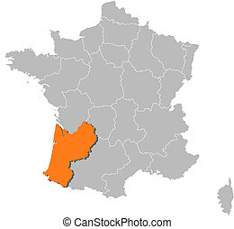 Map of France, Aquitaine highlighted