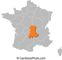 Map of France, Auvergne highlighted - Political map of...