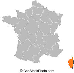 Map of France, Corsica highlighted - Political map of France...