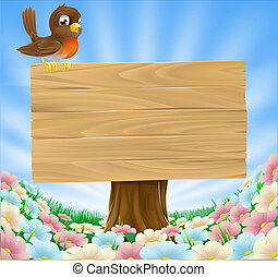 Bird on wooden sign background