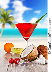 Summer drink - Summer martini drink with blur background on...