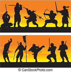 Ninja at sunrise Vector illustration - Ninja at sunrise...