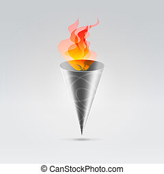 Beautiful metal fire torch - Fire flames burning in cone...