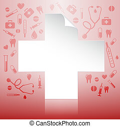 Medical insurance concept - White icon new document over...