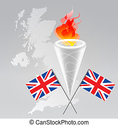 Olympic set - Olympic symbols set: fire torch, flag, UK map...