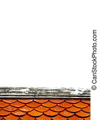 Ridge & red roof-tile on white background
