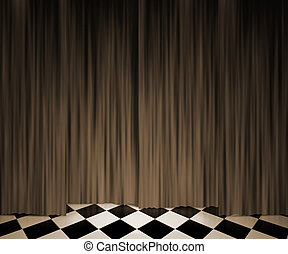 Sepia Vintage Curtain Spotlight Stage Background