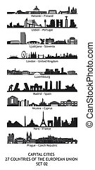 Set of 27 skylines of the capital cities of the european...