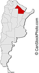 Map of Argentina, Chaco highlighted