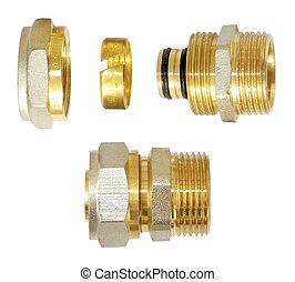 A set of plumbing fittings. - A set of fitting on a white...