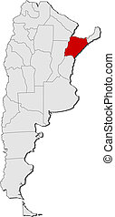 Map of Argentina, Corrientes highlighted