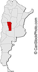 Map of Argentina, San Luis highlighted