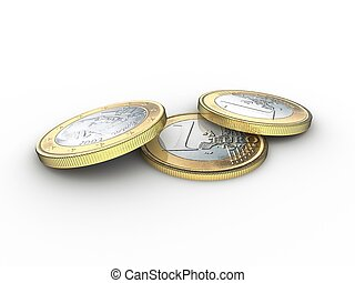 Three euro coins lying partly on top of each other
