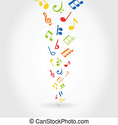 Abstract music - Notes on a black background. A vector...